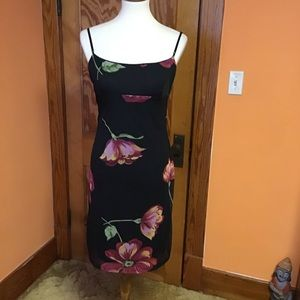 Sexy gothic black n bright floral 90s tank dress